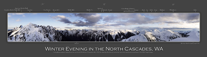 Winter Evening in the North Cascades Panorama